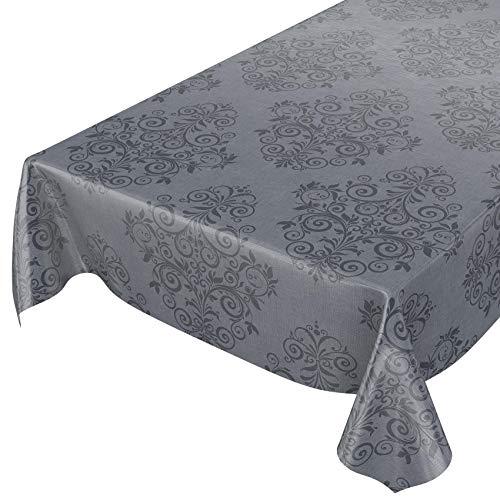 ANRO Wachstuchtischdecke Wachstuch Wachstischdecke Tischdecke abwaschbar Grau Anthrazit Rankenmuster Barock Arabeske 160 x 140cm