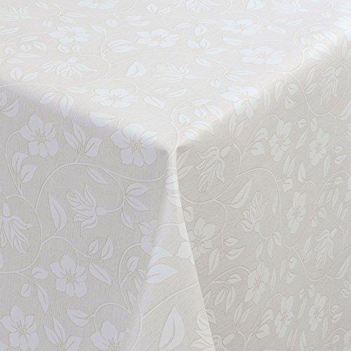WACHSTUCH Tischdecken Gartentischdecke mit Fleecerücken Pflegeleicht Schmutzabweisend Abwaschbar Outdoor Weiße Blumen Anthrazit 01398-01 160x140 cm - Größe individuell wählbar