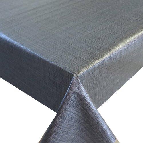 Wachstuch Breite Länge wählbar - dcfix Leinen LOOK Grau  Anthrazit - ECKIG 110 x 200 bzw 200x110 cm abwaschbare Tischdecke Wachstücher Gartentischdecke