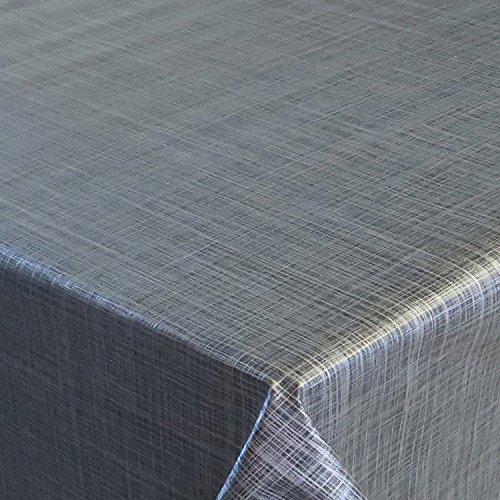 Wachstuch d-c-fix Premium Leinen Look Grau Anthrazit · Eckig 120x180 cm · Länge Breite wählbar· abwaschbare Tischdecke
