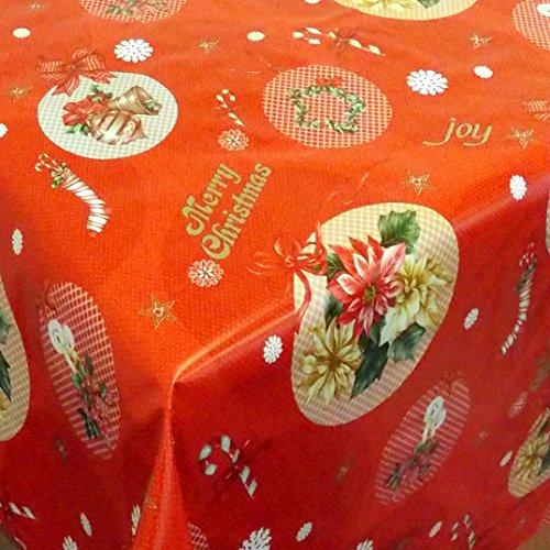 Wachstuch Anello Rot · Eckig 140x170 cm · Länge wählbar· Weihnachten - abwaschbare Tischdecke