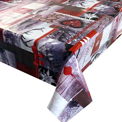Wachstuch Breite Länge wählbar - Rentier Herzen Weihnachten - ECKIG 140 x 160 bzw 160x140 cm abwaschbare Tischdecke Wachstücher Gartentischdecke