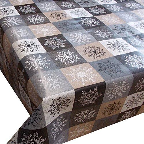 Wachstuch Kristall Beige Braun Weihnachten· Eckig 140x200 cm · Länge wählbar· abwaschbare Tischdecke