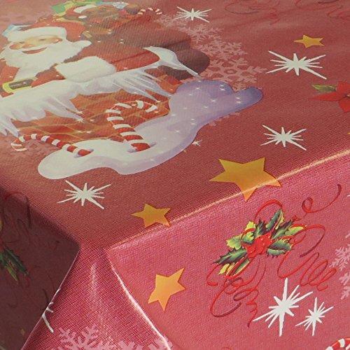 Wachstuch Noel Rot Glatt Weihnachten · Eckig 140x100 cm · Länge wählbar· abwaschbare Tischdecke