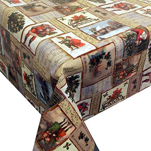 Wachstuch Santa Claus · Eckig 110x190 cm · Länge Breite wählbar· Weihnachten - abwaschbare Tischdecke