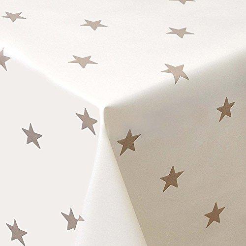 Wachstuch Sterne Creme Weiss Glatt Weihnachten · Eckig 130x200 cm · Länge Breite wählbar· abwaschbare Tischdecke