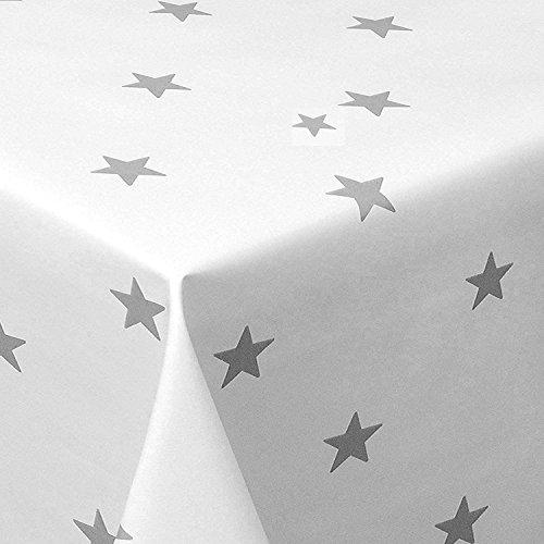 Wachstuch Sterne Weiss Glatt Weihnachten · Eckig 125x180 cm · Länge wählbar· abwaschbare Tischdecke