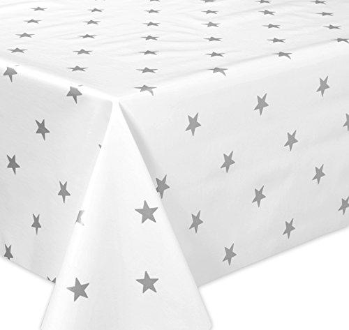 Wachstuch Tischdecke abwaschbar Meterware Glatt Weihnachten Sterne weiß-grau Größe wählbar 140 x 190 cm