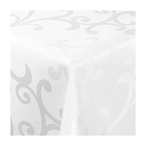 TEXMAXX Damast Tischdecke Maßanfertigung im Milano-Design in weiß 120x200 cm eckig weitere Längen und Farben wählbar