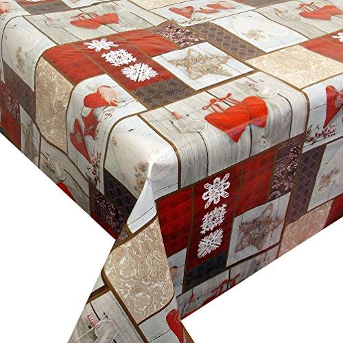 Wachstuch Coeur · Eckig 120x200 cm · Länge Breite wählbar· Weihnachten - abwaschbare Tischdecke