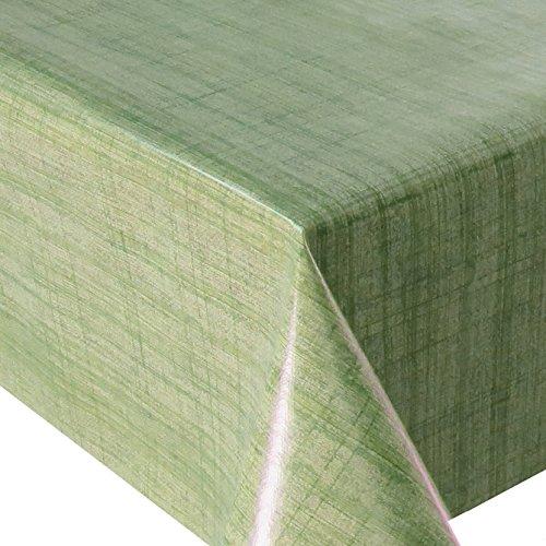 Wachstuch Leinenlook Grün · Eckig 120x200 cm · Länge Breite wählbar· - abwaschbare Tischdecke