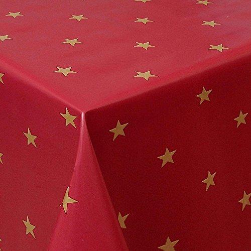 Wachstuch Sterne Rot Weiss Glatt Weihnachten · Eckig 120x200 cm · Länge wählbar· abwaschbare Tischdecke