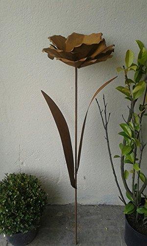 Gartenstecker ca 100 cm aus Metall in Edelrost Rost Deko für Garten und Wohnung Pusteblume Blüte