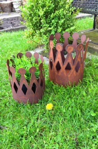 Krone Rost Pflanzschale Edelrost Deko aus Metall Blumenübertopf Windlicht Kerzenhalter Pflanztopf Gartendeko ca 25cm Höhe