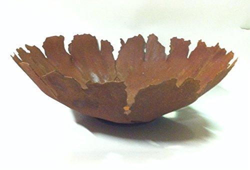 Metallmichl Edelrost Pflanz-Schale Rund mit Rissen 35 cm Deko Dekoration Garten Säule Metall