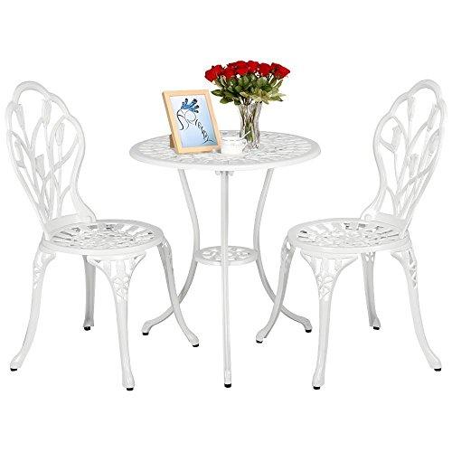 Yaheetech Essgruppe Garten Tisch  Zwei Sitzhocker Bistro Set Gartenmöbel Weiß