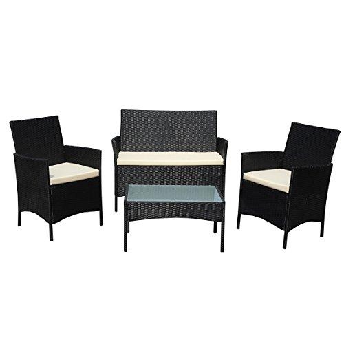 SVITA Gartenmöbel Poly Rattan Sitzgruppe Essgruppe Set Sofa-Garnitur Lounge Braun Grau oder Schwarz Schwarz
