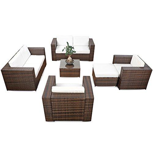 XINRO erweiterbares 20tlg Polyrattan Lounge Gartenmöbel Sofa Set XXXL - braun-Mix - Garnitur Sitzgruppe Sitzgruppe Loungemöbel Set - inkl Lounge Sofa  Sessel  Hocker  Tisch  Kissen