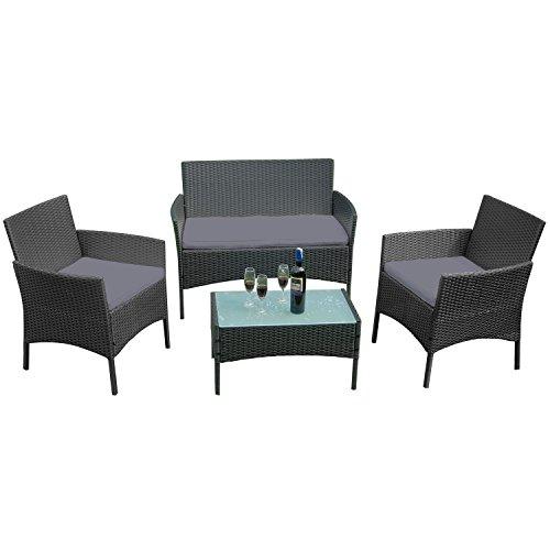 HENGMEI Gartengarnitur Polyrattan Gartenmöbel Set Lounge Sitzgarnitur Gartensofa Rattanmöbel mit 2 Sessel  1 Bank Schwarz Type E mit Anthrazit Kissen