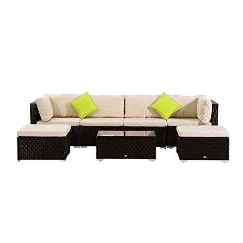 Outsunny Poly-Rattan Gartenmöbel 21tlg Rattan Garten-Set Sitzgruppe Loungeset Loungemöbel Gartengarnitur Sofa inkl Sitzkissen