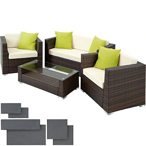 TecTake Hochwertige Alu Luxus Lounge Set Poly-Rattan Sitzgruppe Gartenmöbel mit 2 Bezugsets  4 extra Kissen mit Edelstahlschrauben -diverse Farben- Mixed-Braun