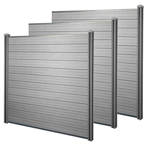 Mendler WPC-Sichtschutz Sarthe Windschutz Zaun WPC-Pfosten ~ 3er Set 57m grau