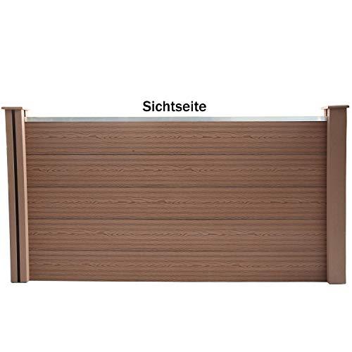 Top-Multi WPC Zaun Sichtschutz 100cm Light Brown 4 Hauptelemente