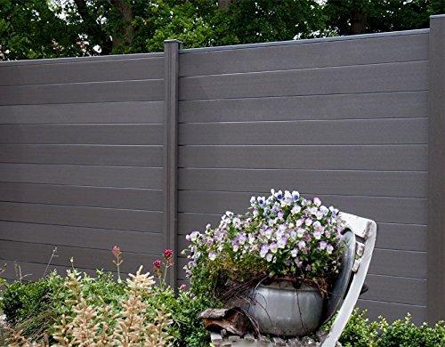 WPC  BPC Sichtschutzzaun dark grey 6 Zäune inkl 7 Pfosten Sichtschutz Gartenzaun Zaun