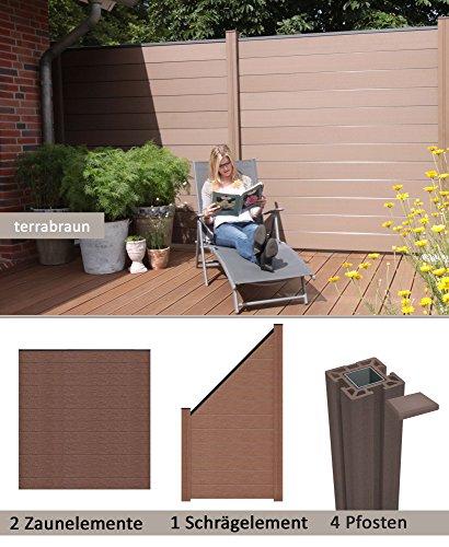 WPCBPC Sichtschutzzaun terrabraun 2 Zäune 1 Schrägelement inkl 4 Pfosten Sichtschutz Gartenzaun
