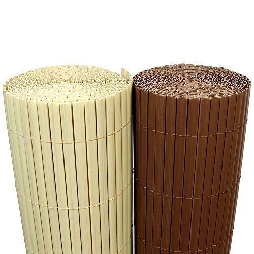 Rapid Teck 5€m² PVC Bambus Sichtschutzmatte 100cm x 500cm Braun SichtschutzWindschutzGartenzaunBalkon Umspannung Zaun