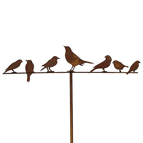 Blümelhuber Gartenstecker Vögel 7er 118 cm Metall Rost Gartendeko Edelrost Groß