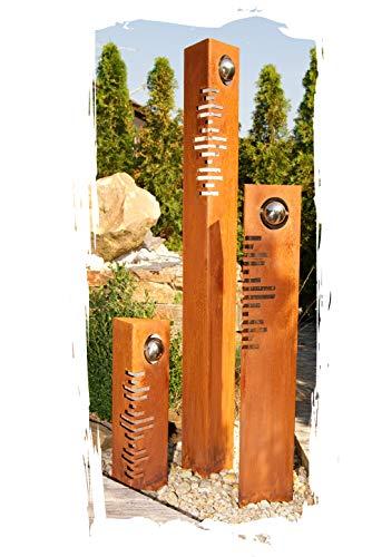 JH-Metalldesign Säulenset Modern Säulen Set Edelrost mit Edelstahl - Kugeln Rost Garten Dekoration Stele