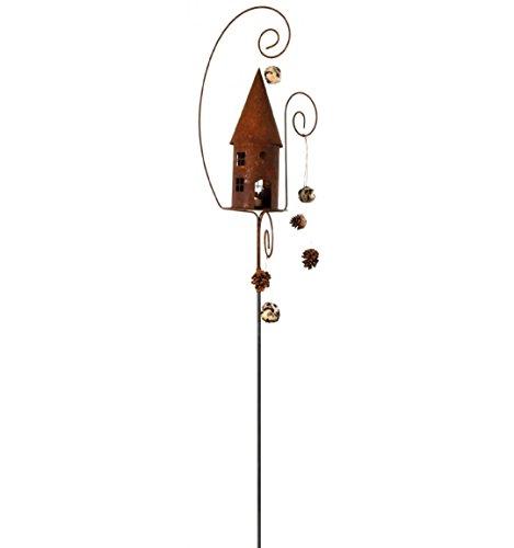 Metallmichl Edelrost Vogelhaus mit 3 gebogenen Stäben 190 cm hoch Rost-Deko Garten-Deko
