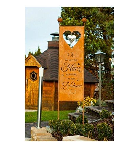Metallmichl Edelrost XXL GartensteckerSichtschutz Herz-Zuhause Höhe 205 cm Wo Sich Dein Herz wohlfühlt ist Dein Zuhause Garten-Schild aus rost Metall