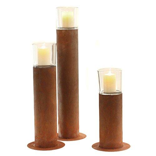 Stimmungsvolles Garten-Windlicht Garten-Fackel Kerzen-Ständer Metall Edelrost mit Glasaufsatz M