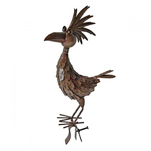 Dachrinnen- und Zaunfigur Vogel Metall Rost-Optik Gartendekoration Dachfigur Zierfigur Dekofigur Gartenfigur