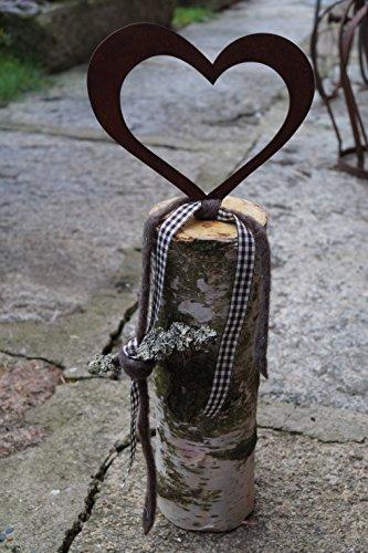 Edelrost Herz groß zum Einschrauben in Holz Bausatz Gartendekoration