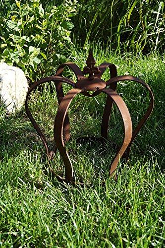 Edelrost Krone Lilie zum Stellen Gartendekoration 32 x 28cm