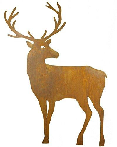 Metallmichl Edelrost Hirsch nach hinten schauend breites Geweih mit Stab zum Stecken 100 cm hoch Tierfigur aus rost Metall zur Gartendekoration