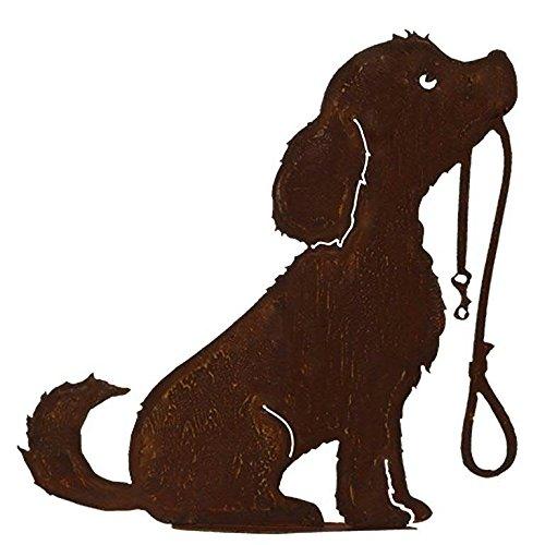 Rost - Hund mit Leine - Höhe 50cm - Auf Platte Fester Stand - Hochwertige Gartendekoration