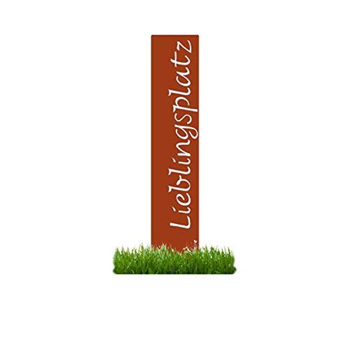 prima terra Lieblingsplatz Gartenstele Edelrost Stele Dekoration Gartendekoration Deko Garten H120cm B20cm