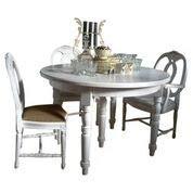 Bistrotisch Deja Tisch rund Esstisch Landhausstil 120cm Ø weiß inkl Erweiterung