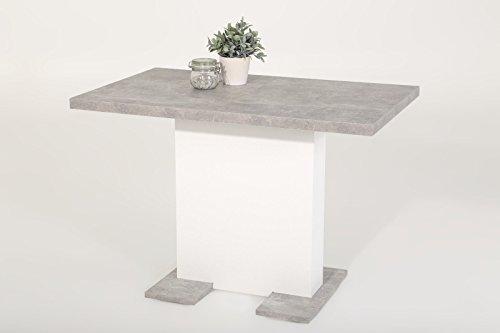 Eternity-Möbel24 Esstisch Säulentisch - Bugsy - Ausziehtisch Tisch ausziehbar in BetonWeiß