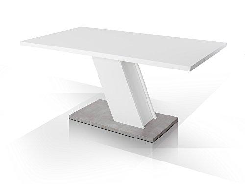INNSBRUCK Esstisch 160x90 cm weiß mattFuß Beton