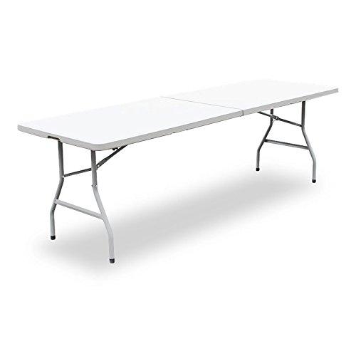 SVITA Buffettisch Klapptisch Esstisch Gartentisch Campingtisch Bank Buffettischbank Weiß 240cm Tisch