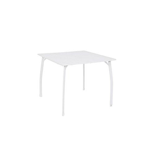 greemotion Gartentisch Weiß Toulouse - Esstisch Garten eckig - Tisch aus Streckmetall kunststoffummantelt - Balkontisch mit Niveauregulierung - Tisch für Terrasse Balkon 90 x 90 cm