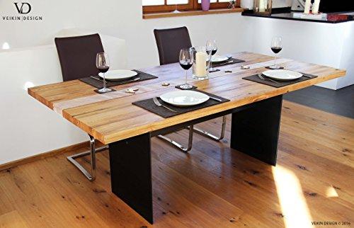 Esstisch Manhattan Black Eiche massiv 250 x 100 cm Designer Tisch Massivholz mit Rohstahl Tischgestell Holztisch Metall Stahl Premium Esstisch Design Esstisch Exklusiv