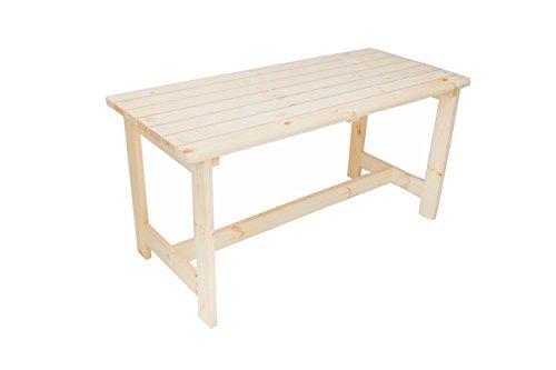 GARDENhome Massivholz Tisch BERGEN Gartentisch Holztisch Natur ca 148x65x74 cm