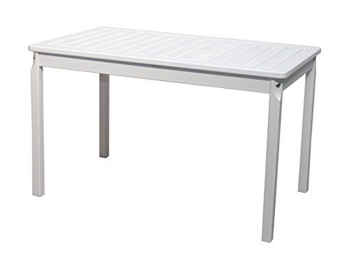 Gartentisch Tisch Massivholz Esstisch EVJE WeißTaupegrau ca 120 x 70 cm
