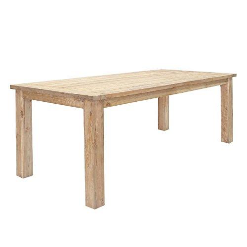 OUTLIV Gartentisch Massiv Teak-Holz Oxford Terrassentisch 220x100cm Massivholz-Tisch Wetterfest Esstisch Holztisch rustikal Outdoor Tisch